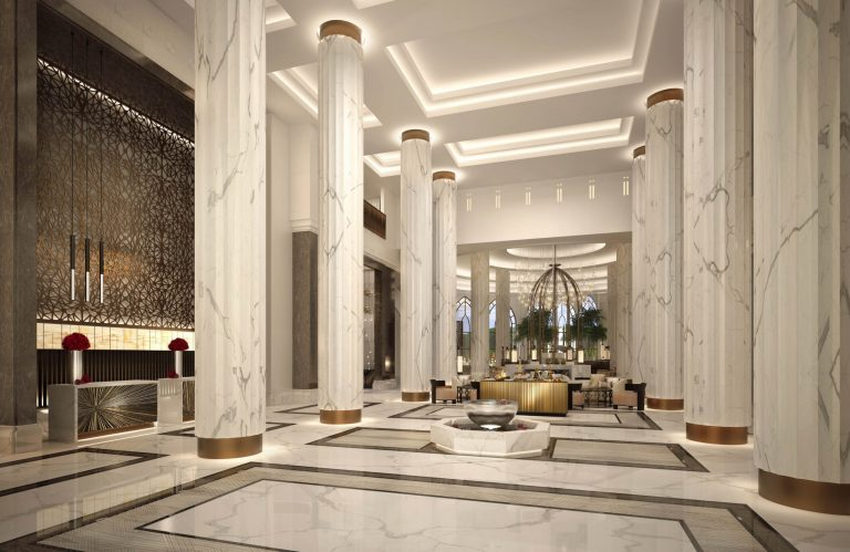 The Lobby area at the Hilton Muscat Hotel